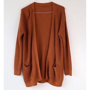 Rusty Orange Knit Double Pocket Cardigan Sweater